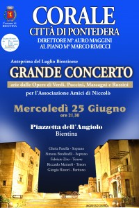 "Grande concerto per l' ""Associazione Amici di Niccolò"" a Bientina"